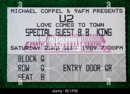 Ticket for U2 Love Comes to Town Tour with BB King concert at Perth Entertainment Centre in 1989 WA Australia. - Stock Photo