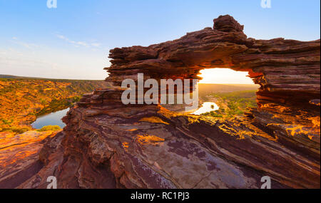 Kalbarri, Australia. A view of Nature's Window lookout and the Murchison River at sunrise in Kalbarri National Park, Western Australia Stock Photo