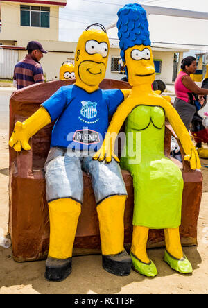 Salinas, Ecuador / December 31, 2015 - Manijotes, or paper mache manniquins are made to be burned at midnight on New Years Eve in Ecuador - Stock Photo