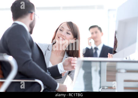 business colleagues talking in the office . - Stock Photo