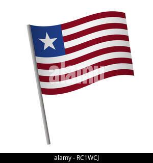 Liberia flag icon. National flag of Liberia on a pole  illustration. - Stock Photo
