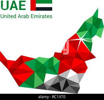 United Arab Emirates flag map in polygonal geometric style. - Stock Photo
