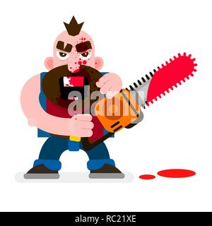 Crazy Murderer Covered In Blood With A Chainsaw Happy Halloween. Design For T-shirts, And Other Items. - Stock Photo