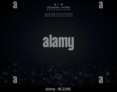 Abstract gradient black background with small glitters bokeh decoration, vector eps10 - Stock Photo