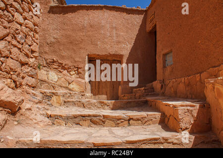 Kasbah Ait Ben Haddou in the Atlas Mountains of Morocco. UNESCO World Heritage. - Stock Photo