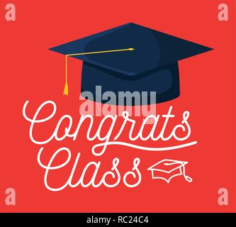 graduation class celebration card with hat vector illustration design - Stock Photo