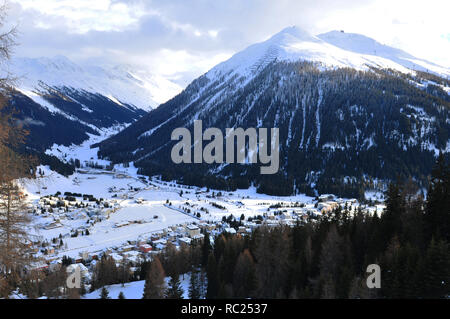 WEF: View from Parsenn mountain above Davos city to the valley and the Dischmaltal - Stock Photo
