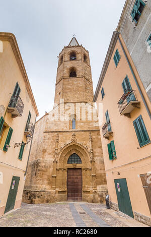 Cathedral of St. Mary the Immaculate in Alghero, Sardinia, Italy - Stock Photo