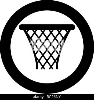 Basketball basket Streetball net basket icon black color vector I flat style simple imagein circle round - Stock Photo