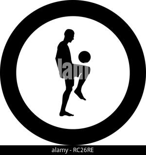 Soccer player juggling ball with his knee or stuffs the ball on his foot silhouette icon black color vector I flat style simple imagein cir - Stock Photo
