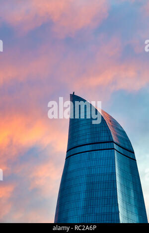 Detail of the Flame Towers at sunset, Baku Azerbaijan - Stock Photo