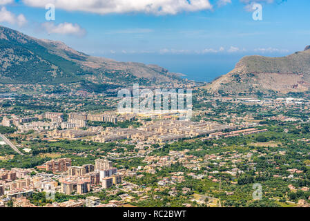 Aerial Cityscape of Palermo, Sicily island, southern Italy. - Stock Photo