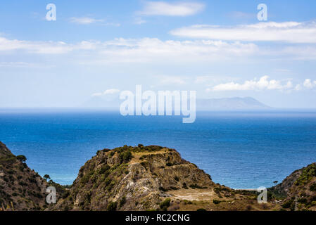 Vulcano, Lipari and Salina, three of the seven volcanic islands of the Aeolian archipelago, seen from the hills of Tyndaris, near the famous Sanctuary - Stock Photo