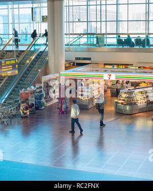 COPENHAGEN ,DENMARK - JUNE 13, 2018: People at Kastrup airport hall in Copenhagen. Kastrup is the main international airport serving Copenhagen, Denma - Stock Photo