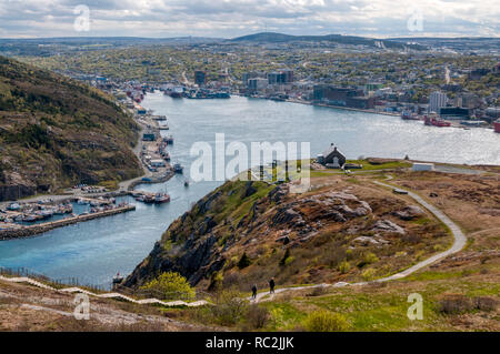 An elevated view of St John's, Newfoundland seen from Signal Hill. - Stock Photo
