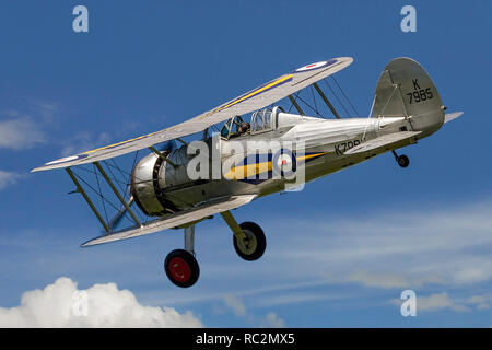 The Shuttleworth Collection's 1937 Gloster Gladiator I G-AMRK/K7985 banking in the sunshine in 2013. - Stock Photo