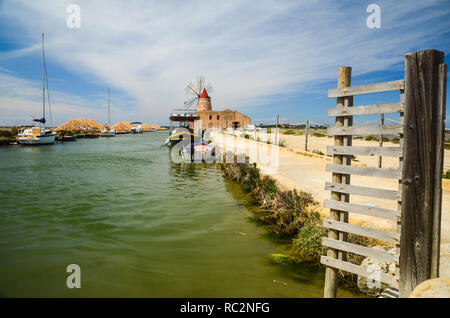 Saline di Trapani. Salt work museum in an old salt mill near Trapani in western Sicily, Italy - Stock Photo