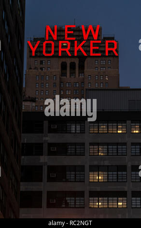 New York City, USA, - July 30, 2013: The New Yorker Hotel on 8th. Avenue at night in Manhattan, New York - Stock Photo