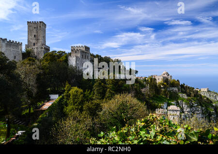 Panoramic view of the Medieval town of Erice with its castle situated on top of a mountain near Trapani, Sicily, Italy.