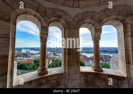Cityscape of Budapest, Hungary as seen from Fishermans Bastion with the Hungarian Parliament in the background - Stock Photo