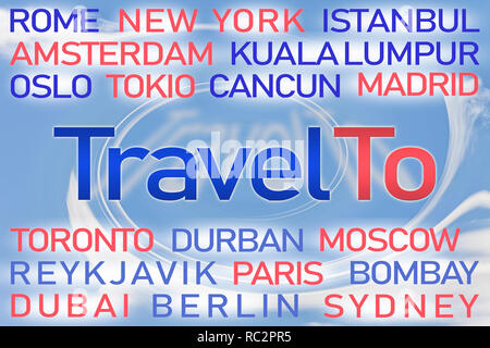 Travel To word cloud with blue background. - Stock Photo