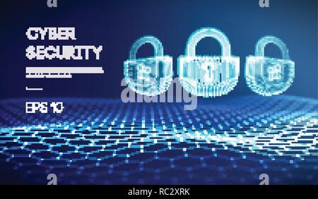 Coputer internet cyber security background. Cyber crime vector illustration. digital lock - Stock Photo