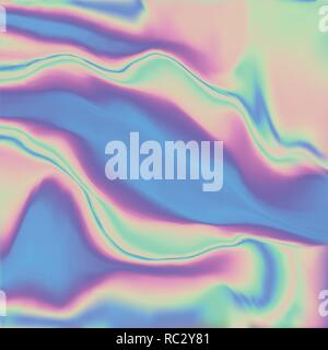 Holographic real texture in blue pink green colors with scratches and irregularities. Holographic color wrinkled foil. Holographic rainbow foil abstra - Stock Photo