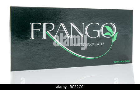 Winneconne, WI - 30 December 2018: A package  of Frango mint chocolates on an isolated background. - Stock Photo