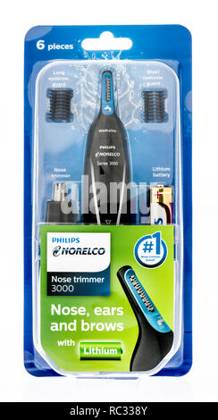 Winneconne, WI - 9 January 2019:  A package of Philips Norelco nose trimmer on an isolated background. - Stock Photo