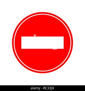 Red brick warning sign. Vector illustration. No entry, traffic sign isolated - Stock Photo