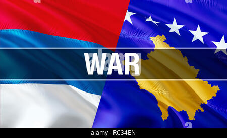 War on Serbia and Kosovo flags. Waving flag design,3D rendering. Serbia Kosovo flag pictures, wallpaper image. Serbian Kosovar relations war alliance  - Stock Photo