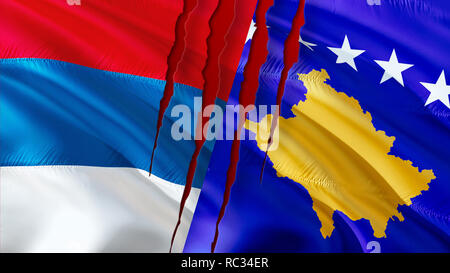 Serbia and Kosovo flags with scar concept. Waving flag design,3D rendering. Serbia Kosovo flag pictures, wallpaper image. Serbian Kosovar relations wa - Stock Photo