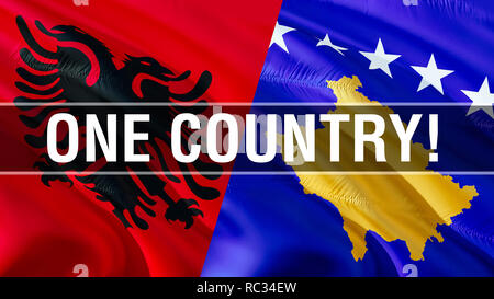 One country on Albania and Kosovo flags. Waving flag design,3D rendering. Albania Kosovo flag, picture, wallpaper, image. Albanian Kosovar relations a - Stock Photo