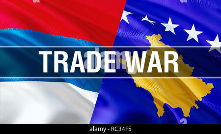 Trade War on Serbia and Kosovo flags. Waving flag design,3D rendering. Serbia Kosovo flag pictures, wallpaper image. Serbian Kosovar relations war all - Stock Photo