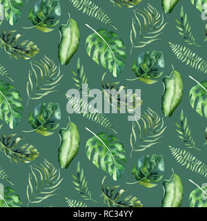 Seamless watercolor pattern of tropical leaves, aloha jungle decoration. Hand painted palm leaf. Texture with tropic summer time used as background, wrapping paper, textile or wallpaper design. - Stock Photo