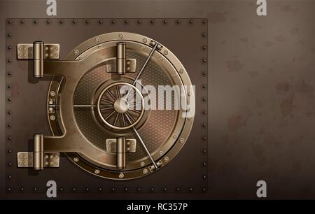 A huge metal round safe door. Reliable saving of secrets and passwords. Copy space. - Stock Photo
