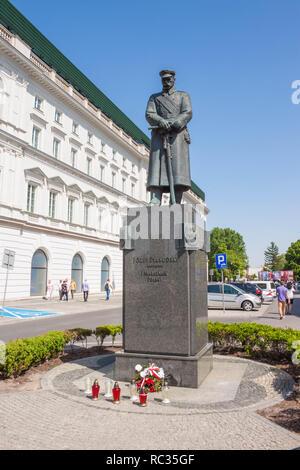 Warsaw, Poland - May 3,2018: Jozef Pilsudski Monument on Pilsudski square in the center of Warsaw, Poland. The monument was designed by Tadeusz Lodzia - Stock Photo