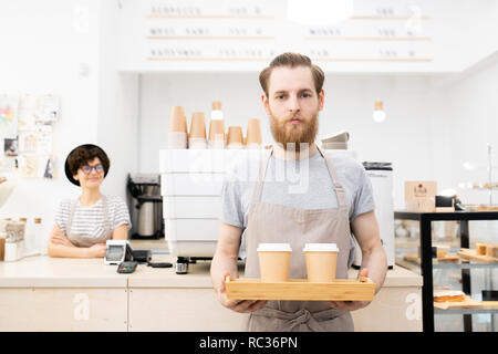 Carrying tray with takeout coffee cups - Stock Photo