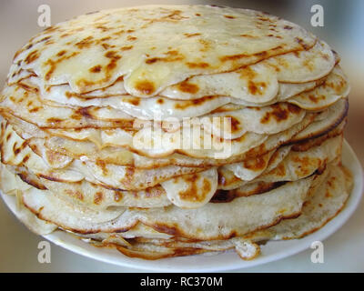 Stack of tasty pancakes isolated - Stock Photo