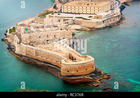 Aerial view of Maniace fortress in Ortigia, Syracuse Sicily - Stock Photo