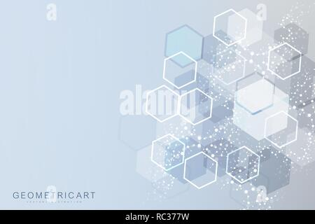 Science network pattern, connecting lines and dots. Modern futuristic virtual abstract background molecule structure for medical, technology, chemistry, science. Scientific hexagonal vector - Stock Photo