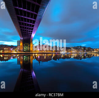 Newcastle quayside at night seen from Gateshead Quays, Gateshead, Tyne and Wear, England, United Kingdom - Stock Photo