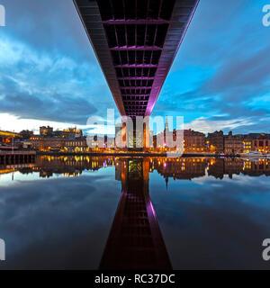 Newcastle quayside at night seen from Gateshead Quays, Gateshead, Tyne and Wear, England, United Kingdom - Stock Photo
