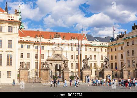 Prague castle Hradcany Square and first courtyard with the Archbishops Palace Matthias Gate Prague Castle Pražský hrad praha Czech Republic Europe - Stock Photo