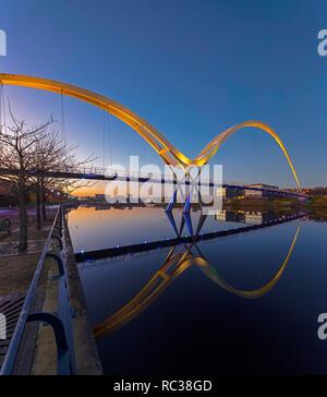 Infinity Bridge at dusk, Stockton on Tees, Tees Valley, England, United Kingdom Stock Photo