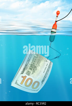 Financial trap creative concept, fishing with money on  hook, under water view - Stock Photo