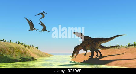 Acrocanthosaurus Dinosaurs - Pteranodon reptiles fly over two Acrocanthosaurus dinosaurs as they drink from a stream in the Cretaceous Period. - Stock Photo