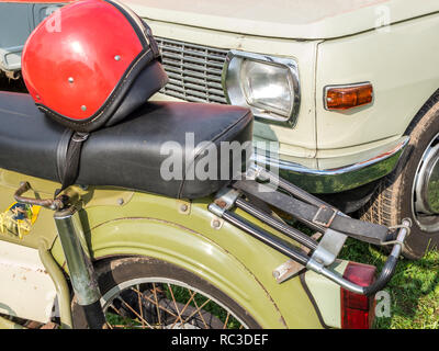 DDR vintage car moped and car - Stock Photo