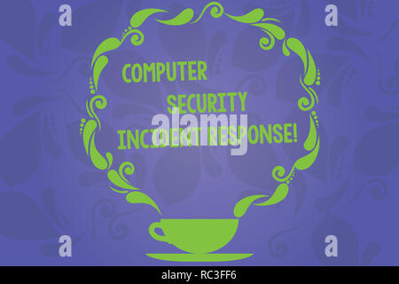 Handwriting text writing Computer Security Incident Response. Concept meaning Technology errors safety analysisagement Cup and Saucer with Paisley Des - Stock Photo
