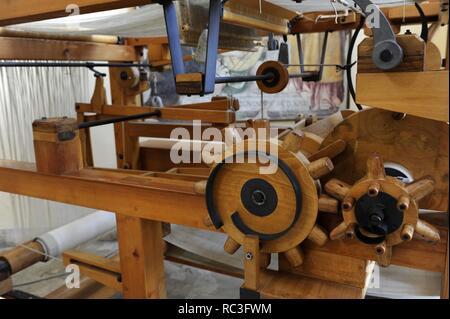 Renaissance. Study of Leonardo da Vinci. Weaving machines. Mechanical loom. 15th century. Model. Detail. The Science and Technology Museum Leonardo da Vinci. Milan. Italy. - Stock Photo
